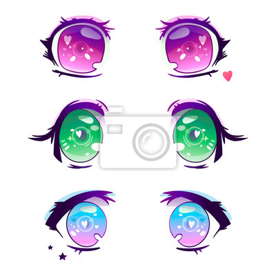 Hand drawn cute anime eyes. Colored vector set. All elements are isolated