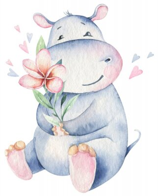 Sticker Hand drawn cute isolated tropical summer watercolor hippo animals. hippopotamus baby and mother cartoon animal illustrations, jungle tree, brazil trendy design. Aloha collection.