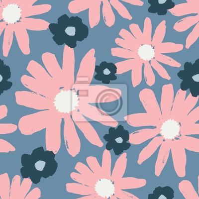 Hand Drawn Flowers Seamless Pattern
