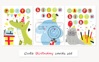 Hand drawn funny party animals. Set of three cute birthday cards