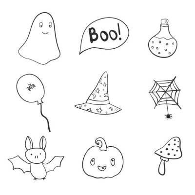 Hand drawn helloween, doodle, set.Hand drawn Halloween traditional symbols. Doodle style illustrations: carved pumpkin, spider webs,hat,magic potion pot. Isolated vector on white background.