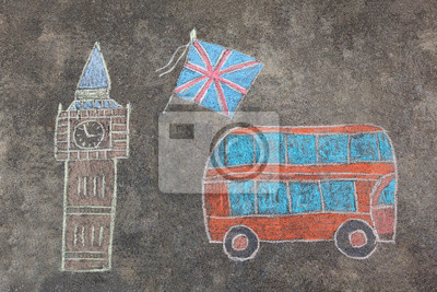 hand-drawn London doodles set with colorful chalks