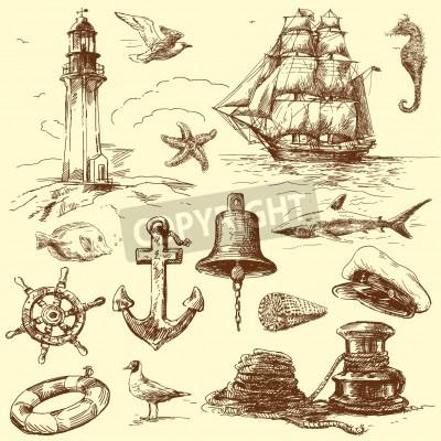 Sticker hand drawn nautical collection