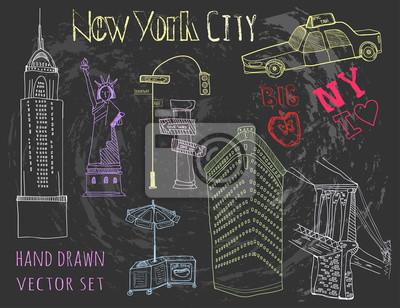 Hand drawn New York city elements. Chalk style vector set