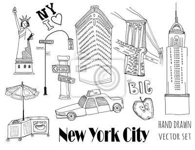 Hand drawn New York city elements. Vector set