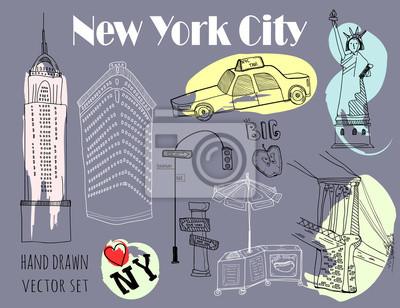 Hand drawn New York city elements. Vector set. Grey background