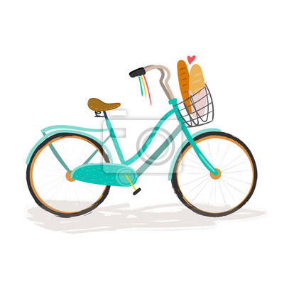 Hand drawn retro bicycle with baguettes. Colored vector illustration