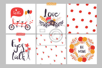 Hand drawn Valentine's day set of seamless patterns. Vector collection