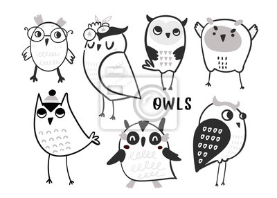 Hand drawn various cute owls. Graphic vector set. All elements are isolated