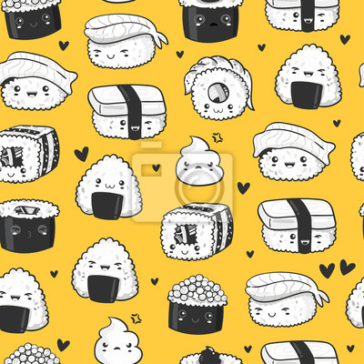 Hand drawn various cute sushi. Black and white elements. Vector seamless pattern. Yellow background