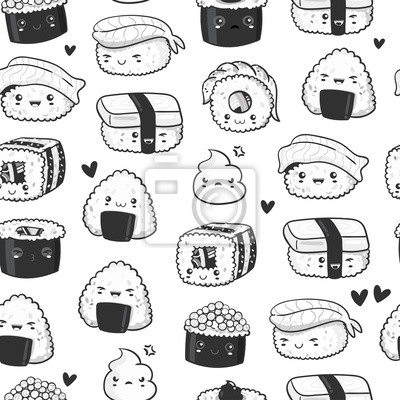 Hand drawn various cute sushi. Black and white vector seamless pattern