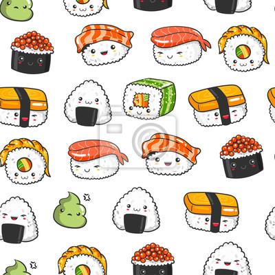Hand drawn various kawaii sushi. Colored vector seamless pattern