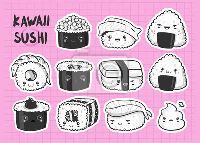 Hand drawn various kawaii sushi stickers. Black and white vector set. All elements are isolated. Pink background