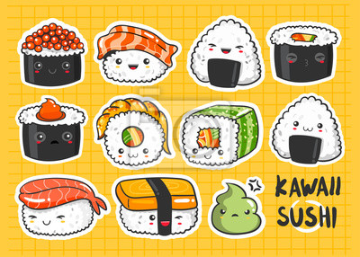 Hand drawn various kawaii sushi stickers. Colored vector set. All elements are isolated. Yellow background