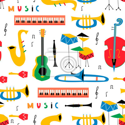 Hand drawn various musical instruments. Mid century style. Colored vector seamless pattern