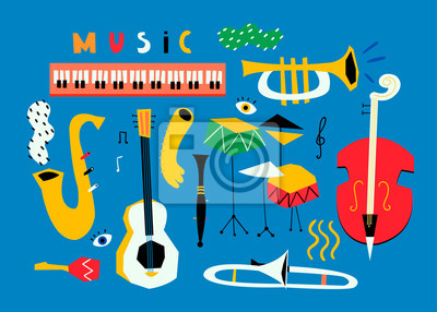 Hand drawn various musical instruments. Mid century style. Colored vector set. Blue background. All elements are isolated