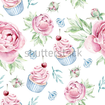 Sticker Hand drawn watercolor pattern with cupcake and floral elements.Romantic concept.