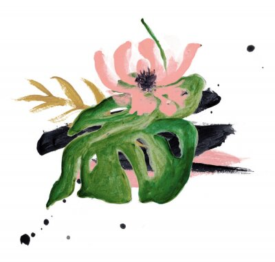 Hand Drawn Watercolor Tropical Clipart, Leaves, Wreath, Brush Stroke, Texture, Ink Drop