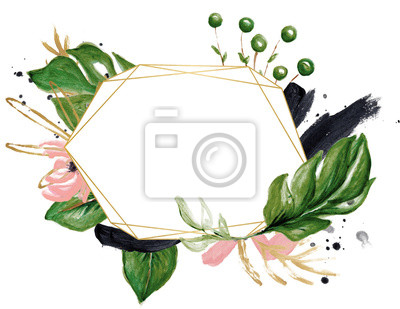 Hand Drawn Watercolor Tropical Clipart, Leaves, Wreath, Brush Stroke, Texture, Ink Drop, Tropical Geometric Frame