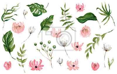 Hand Drawn Watercolor Tropical Leaves, Tropical Exotic Leaves, Background, Urban Jungle, House Plant