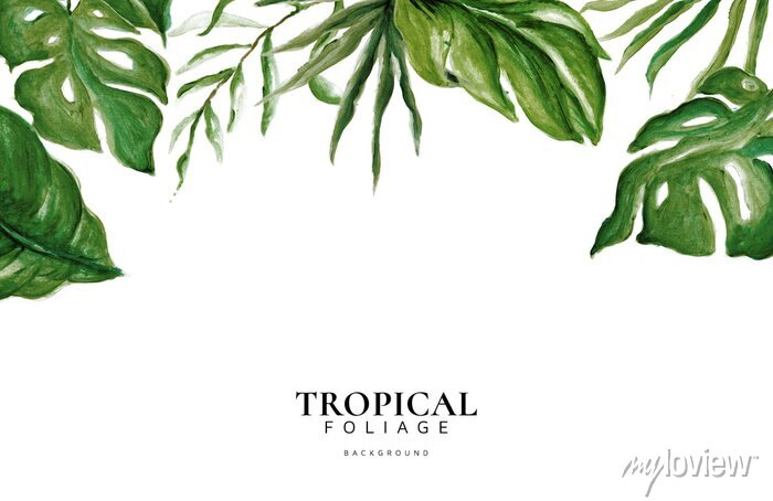 Sticker Hand Drawn Watercolor Tropical Leaves, Tropical Exotic Leaves, Background, Urban Jungle, House Plant