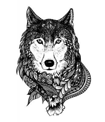 Sticker Hand gezeichnet abstrakte Wolf Vektor-Illustration