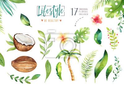 Hand gezeichnet Aquarell tropischen Pflanzen gesetzt. Exotische Palmblätter, Dschungelbaum, Brasilien tropische Botanik Elemente und Blumen. Perfekt für Stoffdesign. Aloha Boho Kollektion.