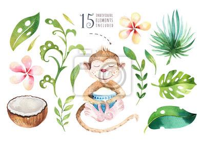 Hand gezeichnet Aquarell tropischen Pflanzen gesetzt und Affen. Exotische Palmblätter, Dschungelbaum, Brasilien tropische Botanik Elemente und Affen. Perfekt für Stoffdesign. Aloha gesetzt