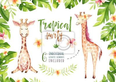 Hand gezeichnet Aquarell tropischen Pflanzen gesetzt und Giraffe. Exotische Palmblätter, Dschungelbaum, Brasilien tropische Botanik Elemente und Affen. Perfekt für Stoffdesign. Aloha Sammlung.