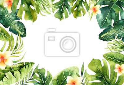 Hand gezeichnet Aquarell tropischen Pflanzen Hintergrund. Exotische Palmblätter, Dschungelbaum, brasilianische Bord-Elemente. Perfekt für Stoffdesign. Aloha Kunst.