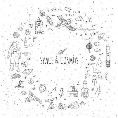 Sticker Hand gezeichnet doodle Raum und Kosmos-set Vektor-Abbildung Universe Icons Raum Konzept Elemente Rocket Raumschiff Symbole Sammlung Sonnensystem Planeten Galaxy Milchstraße Astronaut Tech freehand-Sym