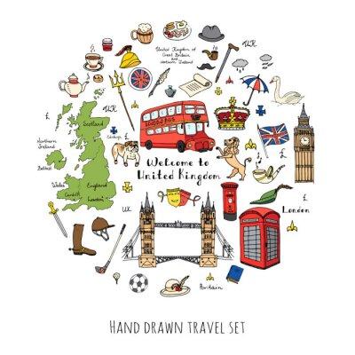 Sticker Hand gezeichnet doodle Vereinigtes Königreich gesetzt Vektor-Illustration UK-Symbole Willkommen zu London Elemente britische Symbole Sammlung Tee-Bus Reiten Golf Crown Bier Lion Bulldog London Bridge