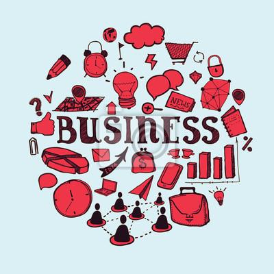 Hand gezeichnet Geschäfts-und Kommunikations-Symbole