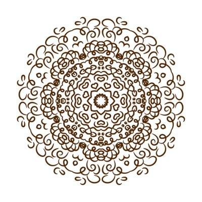 Sticker Hand gezeichnet Henna-Tätowierung Mandala. Vector Spitzeverzierung.