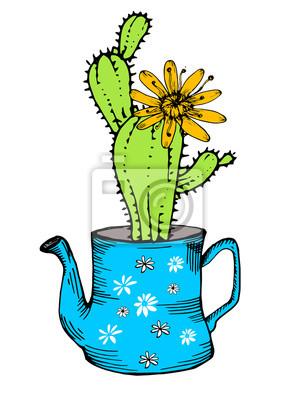 Hand gezeichnet Kaktus mit Blume in Teekanne, isoliert