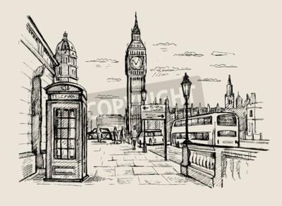 Hand gezeichnet Landschaft von London Stadt
