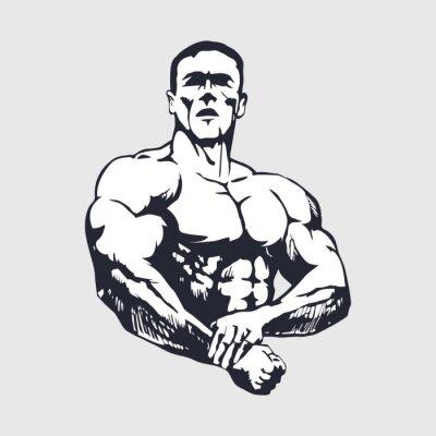 Sticker Hand gezeichnet muskulöser Mann - Bodybuilder