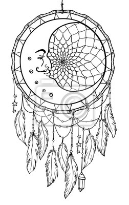 Hand Gezeichnet Native American Indian Talisman Traumfänger Mit