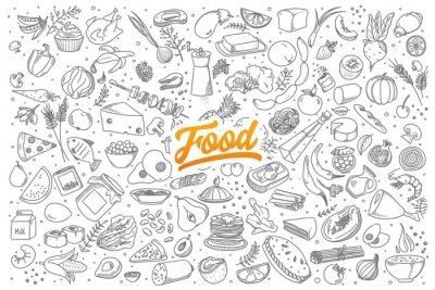 Sticker Hand gezeichnet Satz von gesunden Lebensmittelzutat doodles mit Schriftzug im Vektor