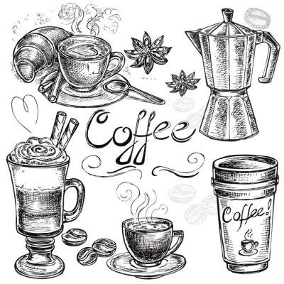 Sticker Hand gezeichnet Set Kaffee Sammlung