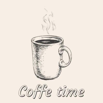 Hand Gezeichnet Sketch Kaffeetasse Vektor Illustration Notebook