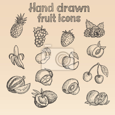 Hand gezeichnet (skizzierte) Obst Symbole in Vektor für Print oder Web.