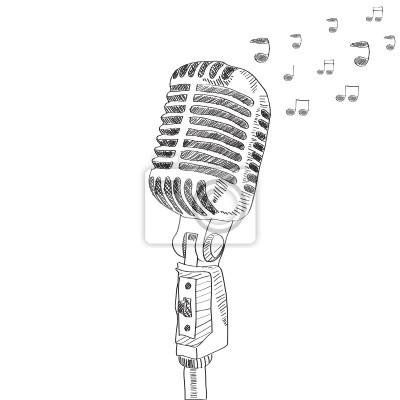 Hand gezeichnet Vektor-Mikrofon mit beachten. isoliert