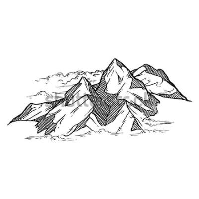 Sticker Hand gezeichnet von den Bergen vector iluustration