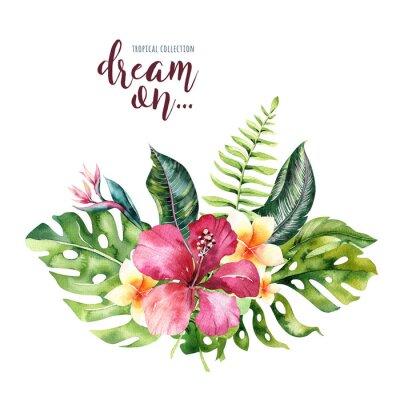 Hand gezeichnete Aquarell tropische Blumensträuße. Exotische Palmblätter, Dschungelbaum, Brasilien tropische Botanik Elemente und Blumen. Perfekt für Stoffdesign. Aloha Design