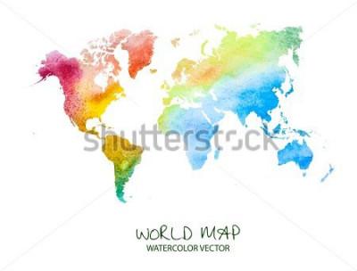 Sticker Hand gezeichnete Aquarellweltkarte lokalisiert auf Weiß. Vektor Version