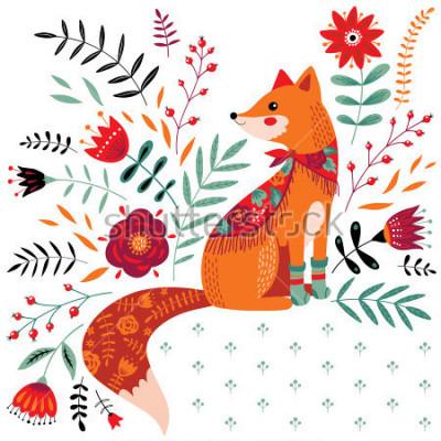 Sticker Hand gezeichnete Fuchsillustration