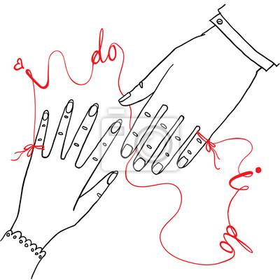 """Hand gezeichnete Hochzeitsgrußkarte oder -einladung. Männliche und weibliche Hände verbunden durch die rote Schnur mit Worten """"Ich tue"""""""