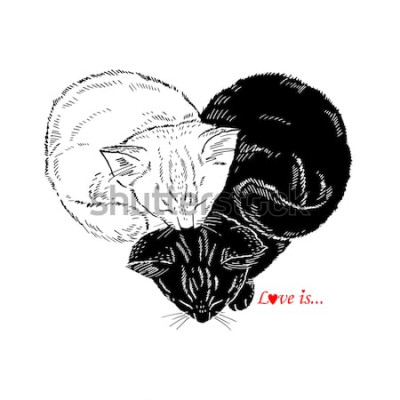 Sticker Hand gezeichnete Illustration von den Schwarzweiss-Kätzchen, die in Form des Herzens, Valentin Day-Design, Liebe schlafen