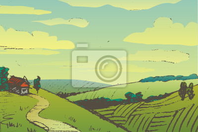 Hand gezeichnete Landschaft mit Haus